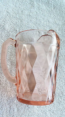 "Vintage Heisey Flamingo Pink ""Diamond"" Beverage Crystal Pitcher 7.5 inch MINT"