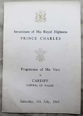1969 Investiture Prince Charles Cardiff Visit Programme 5th July 1969