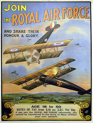 """Ww1 Join The Royal Air Force Recruitment  Poster 8""""x6"""" Metal Sign No 2"""