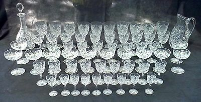 French Baccarat Glasses Bogota Cut Crystal Stemware Glassware Set 60 Pieces