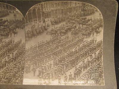German Troops in Grand Place at Brussels Early 1900s WWI Era Stereoview