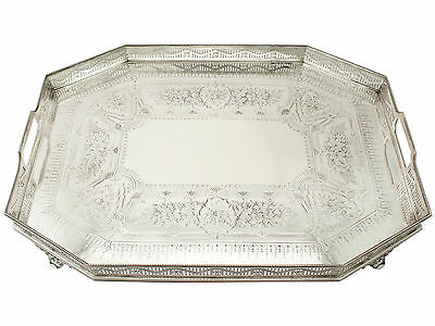 Sterling Silver Galleried Tea Tray - Antique Victorian