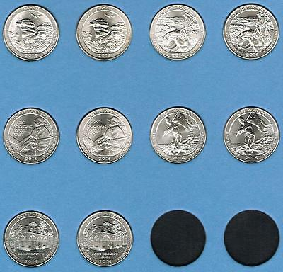 2016 P&d Atb National Park Quarter Collection - All 10 Coins - Uncirculated