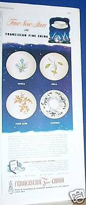 1950 Franciscan China Ad 4 patterns vintage kitchen