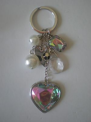 Lot of 10 Heart keychain Key Ring Purse Charms