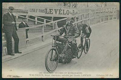 Walthor USA & Lawson Motorcycle Bicycle Motor-paced Race cycling 1910s postcard