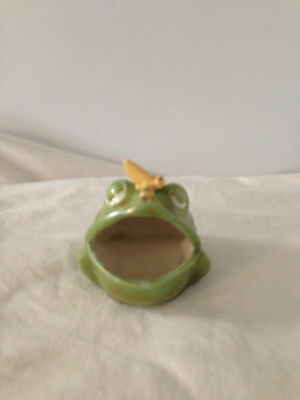 Vintage Open Mouth Frog Ceramic Scouring Pad  Soap Holder