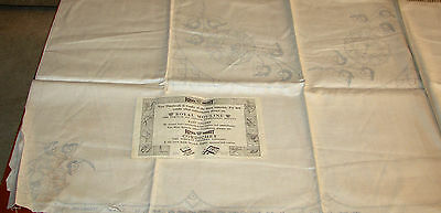 Royal Society PEONY ROSE Stamped Embroidery 50x50 TABLECLOTH w/Orig Instructions