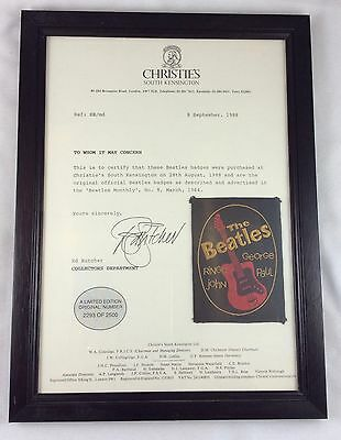 1964 Framed Limited Edition Beatles Badge / Patch with Christies COA Letter