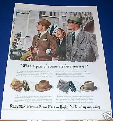 "1947 Stetson Narrow Brim Hats Ad ""scene-stealers"""