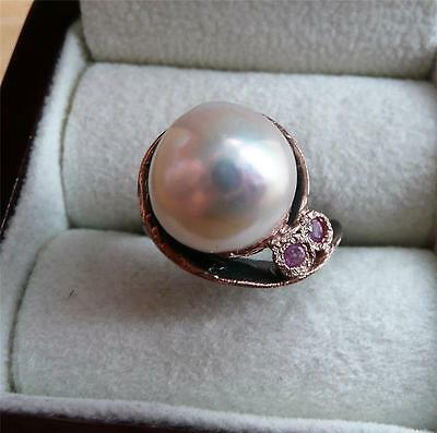 Round Baroque White Pearl Ruby 925 Sterling Silver Rose Gold Rhodium Ring Sz R 9