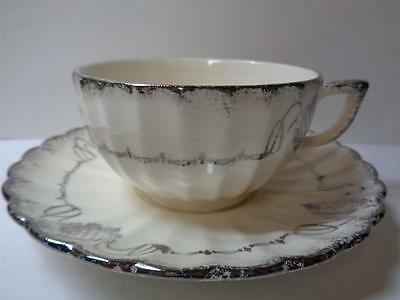Vintage Sebring USA White Gold Ware CAMEO Pattern Coffee Tea Cup Saucer Set 22K