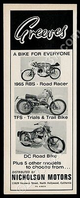 1965 Greeves RBS Road Racer TFS trail DC road bike motorcycle photo print ad