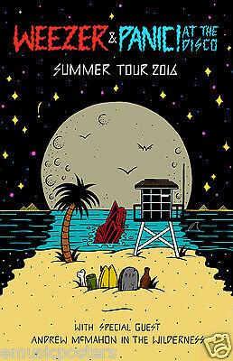 """WEEZER / PANIC AT THE DISCO / ANDREW McMAHON """"SUMMER TOUR 2016"""" CONCERT POSTER"""