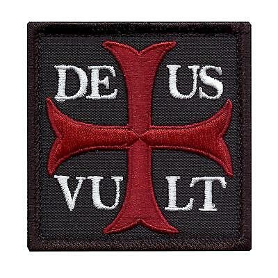 Deus Vult God Wills It embroidered morale crusader knight holy sew iron on patch