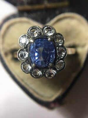Stunning Unusual Vintage Blue White Stones  Paste Dress Ring Yellow Gold