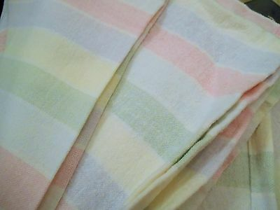 Vintage Candy Striped Cotton Sheet Double Bed Flannelette Brushed Cosy Warm
