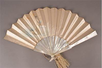 Edwardian Wedding Fan in Silk Mother of Pearl and Embroidery.