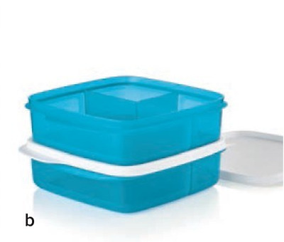 Tupperware Lunch-It Divided Square Snack Set of Two Blue with White Seals New