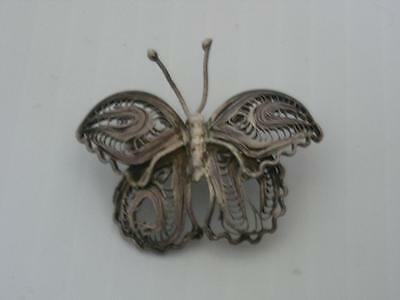 Antique / Vintage Mexican Sterling Silver Pin  -Filigree - Sweet And Petite - Nr