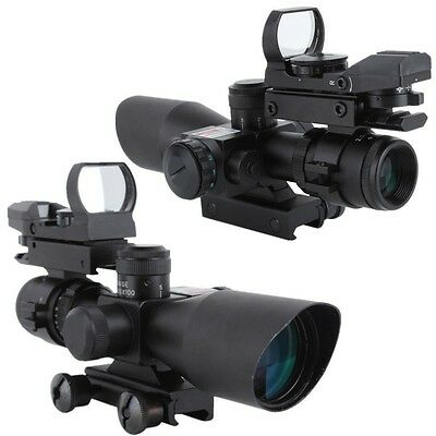 New Tactical 2.5-10X40 Rifle Scope W/Red Laser & Holographic Red/Green Dot Sight