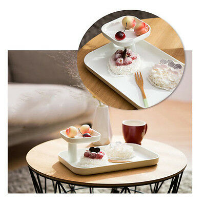 2 Tier Multipurpose Tray Bed Breakfast Tray Serving Snack White