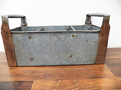 """Industrial Galvanized 3 Place 14"""" Tote with Metal Handles Utensil Tool Caddy"""