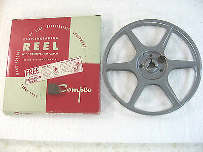 Vintage Compco Corp 200ft, 8mm Reel and box with film clip, no. 112, NEW