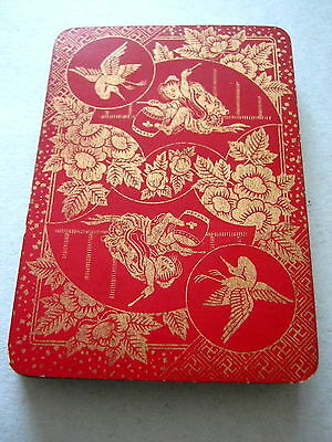 GOODALL WIDE LACQUER BACK BEZIQUE 32 CARD ANTIQUE PLAYING CARDS GILDED 1890s
