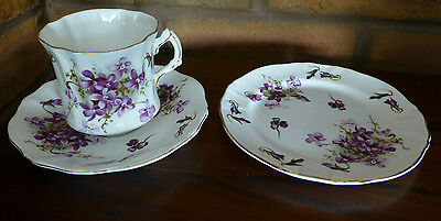 Hammersley Fine Bone China Victorian Violets Trio, Teacup, Saucer and Plate