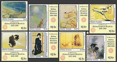 Sierra Leone 1054-1061/label,1062-1063,MNH. Hirohito,1989.Paintings by Seiho.