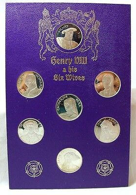 Henry VIII and His Wives Solid Set 7 Medallion Set 1972 - Pobjoy Mint - FDC