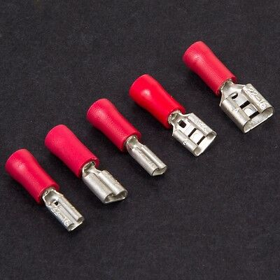 RED FEMALE SPADE CRIMP CONNECTORS Varied Size Terminals Electric Wire Splice