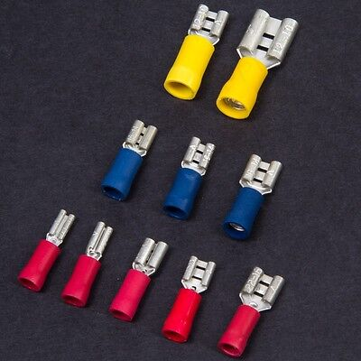 PART INSULATED FEMALE SPADE CRIMP TERMINALS Wire Cable Tab Connector Car Audio