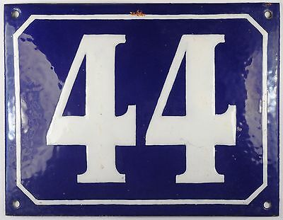 Large old blue French house number 44 door gate plate plaque enamel steel sign