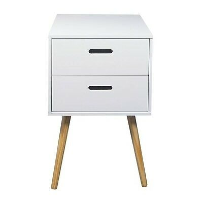 Woodluv MDF Retro 2 Drawer Bedside Side Table Storage Unit