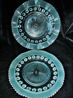 Vintage Art Deco Aqua Blue Glass Drilled Tier Cake Plates Strong Uv Green Glow