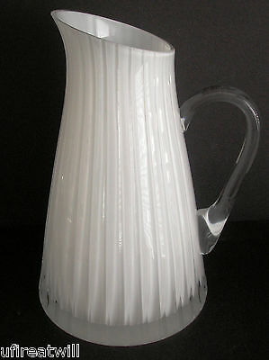 Faberge Glacon Nuit Opal Cased Cut To Clear Crystal Jug Pitcher  Signed