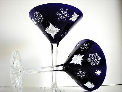 AJKA COBALT & OPAL DOUBLE CASED CUT TO CLEAR CRYSTAL COCKTAIL MARTINI Set of 2