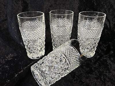 "Anchor Hocking WEXFORD 5 1/2"" tall Water Glasses/Tumblers - Set of 4"