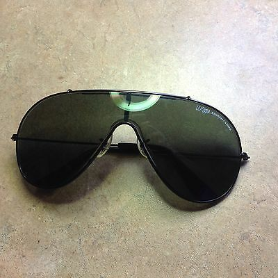 Vintage Black Aviator Bausch & Lomb Ray Ban Wings Sunglasses & Brown Case