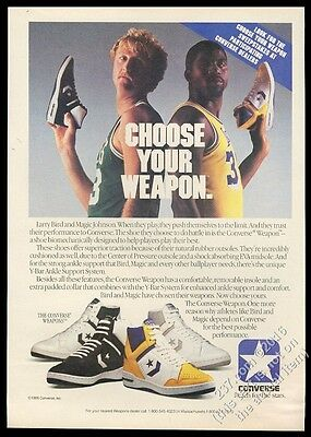 1986 Larry Bird Magic Johnson photo Converse Weapon basketball shoes print ad