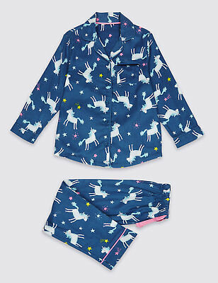 Girls Marks And Spencer M&S Unicorn Brushed Cotton Pyjamas PJ's 1.5- 8 Years NEW