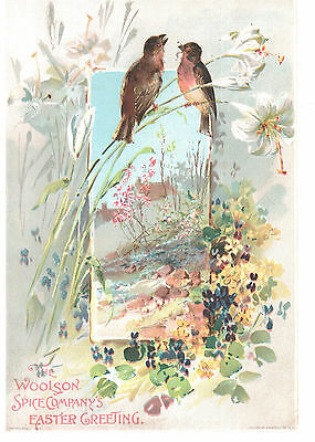 EASTER GREETING LION COFFEE WOOLSON SPICE CO TOLEDO VICTORIAN TRADE CARD 1800s