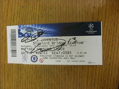 19/09/2012 Autographed Ticket: Chelsea v Juventus [Champions League] - Hand Sign