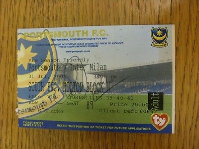 31/07/2005 Autographed Ticket: Portsmouth v Inter Milan [Friendly] - Hand Signed