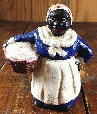 Black Americana Cast Iron Black Lady With Laundry Basket Washer Woman Coin Bank