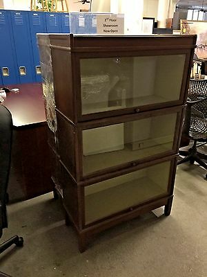 VINTAGE/OLD STYLE BOOKCASE w/ GLASS DRAWERS