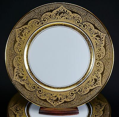 GORGEOUS Antique Stouffer China Porcelain Gold Set of 8 Cabinet Plate Plates