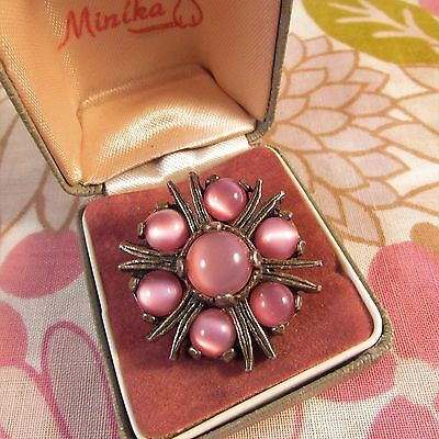 Vintage Signed Miracle Silvertone & Pink Moonglow Glass Beaded Scottish Brooch